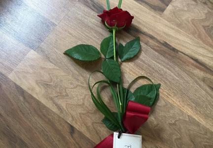 Handros med rosett och kort